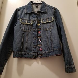 Boston Proper Embroidered Denim Jean Jacket